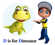 Kid boy pointing Dinosaur Royalty Free Stock Images