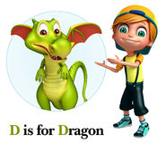 Kid boy pointing Dragon Stock Photography