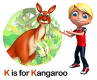Kid boy pointing Kangaroo Royalty Free Stock Photo