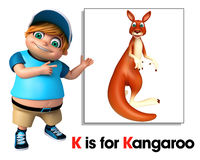 Kid boy pointing Kangaroo Stock Images