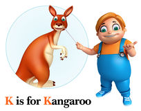 Kid boy pointing Kangaroo Royalty Free Stock Image