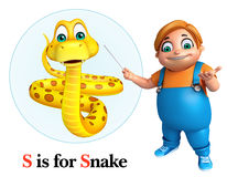 Kid boy pointing Snake Stock Photo