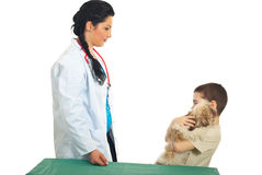 Kid boy with puppy visit veterinary Stock Photo