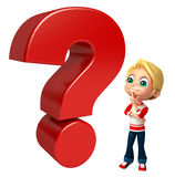 Kid boy with Question mark sign Stock Photography