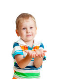 Kid boy reaching his hands out Royalty Free Stock Photos