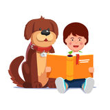 Kid boy reading book sitting next his dog friend. Kid reading a book sitting next his cute happy dog best friend. Boy and pooch learning together. Flat style Stock Photo