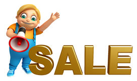 Kid boy with Sale sign  & loud speaker Royalty Free Stock Images