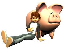 Kid boy savings and pig bank Stock Image