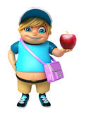 Kid boy with  School bag & Apple Stock Photography