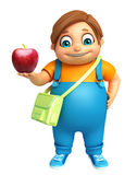 Kid boy with  School bag & Apple Royalty Free Stock Photo