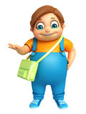 Kid boy with  School bag. 3d rendered illustration of kid boy with School bag Stock Photography