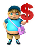 Kid boy with  School bag & Dollar sign Stock Images