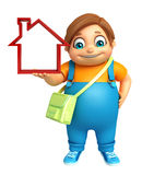 Kid boy with  School bag & Home sign Stock Image