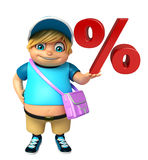 Kid boy with  School bag  & percentage sign Stock Image