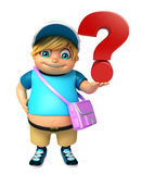 Kid boy with  School bag & Question sign Stock Image
