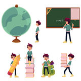 Kid, boy, schoolboy doing school acitivities. Kid, little boy doing school acitivities, set of cartoon vector illustration isolated on white background. Little Royalty Free Stock Photography