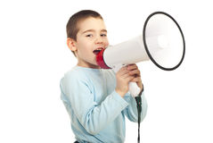 Kid boy shouting megaphone Royalty Free Stock Photos