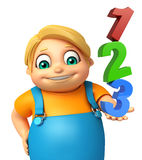 Kid boy with 123 sign. 3d rendered illustration of Kid boy with 123 sign Royalty Free Stock Photography