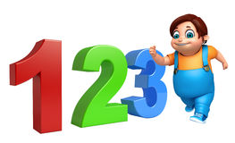 Kid boy with 123 sign. 3d rendered illustration of kid boy with 123 sign Stock Images