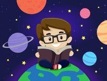 Kid Boy sitting around planet while reading book Stock Photos