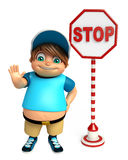 Kid boy with Stop board Stock Photos