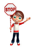Kid boy with stop sign Stock Images