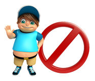 Kid boy with Stop sign Stock Photos