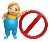 Kid boy with Stop sign Stock Photos