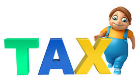 Kid boy with Tax sign. 3d rendered illustration of kid boy with  Tax sign Stock Photography