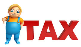 Kid boy with Tax sign. 3d rendered illustration of Kid boy with Tax sign Stock Photos
