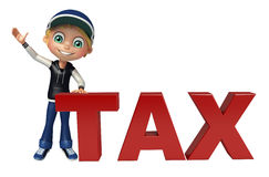Kid boy with tax sign. 3d rendered illustration of kid boy with tax sign Stock Image