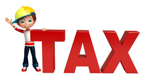 Kid boy with tax sign. 3d rendered illustration of kid boy with tax sign Royalty Free Stock Images