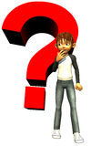 Kid boy teen human with a red question mark Stock Photos