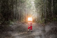 TV addicted children. Mixed media Royalty Free Stock Photos