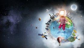 TV addicted children. Mixed media stock image