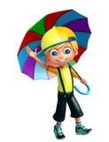 Kid boy with umbrella. 3d rendered illustration of kid boy with umbrella Royalty Free Stock Images