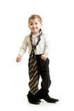 Kid boy weared father shoes Royalty Free Stock Images