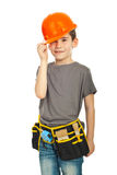 Kid boy wearing helmet Royalty Free Stock Photo