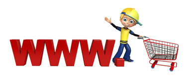 Kid boy with www & trolly. 3d rendered illustration of kid boy with www  & trolly Stock Photo