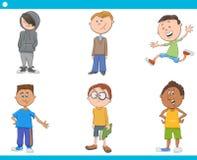 Kid boys characters cartoon set vector illustration