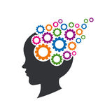 Kid Brain with Gears Illustration. Concept of Mental Thinking, Psychology and Intelligence Royalty Free Stock Photography