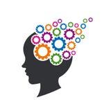 Kid Brain with Gears Illustration stock illustration
