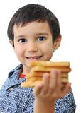 Kid with bread isolated Royalty Free Stock Images