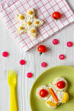 Kid breakfast butterfly sandwiches top view on wooden background Royalty Free Stock Images