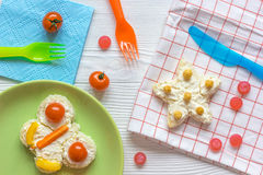 Kid breakfast butterfly sandwiches top view on wooden background Royalty Free Stock Photography
