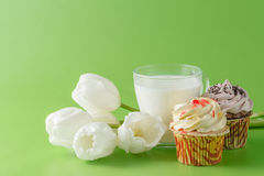 Kid breakfast with white tulips and sweets Royalty Free Stock Photography