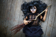 Kid with broom Stock Photos