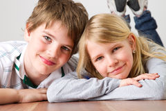 Kid brother and sister Royalty Free Stock Image
