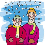Kid brothers and snow. Illustration of happy kid brothers and snow Royalty Free Stock Images