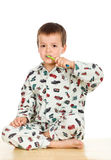 Kid brushing teeth before bedtime Stock Photo